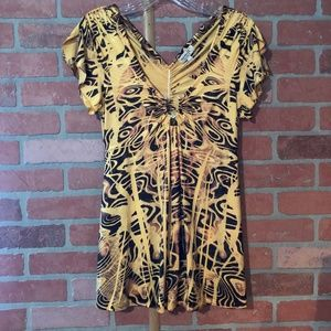 One World Live and Let Live Yellow/Black Blouse